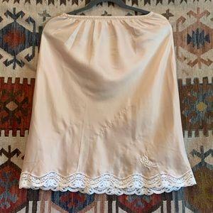 Vintage Dior high waisted satin lace slip skirt